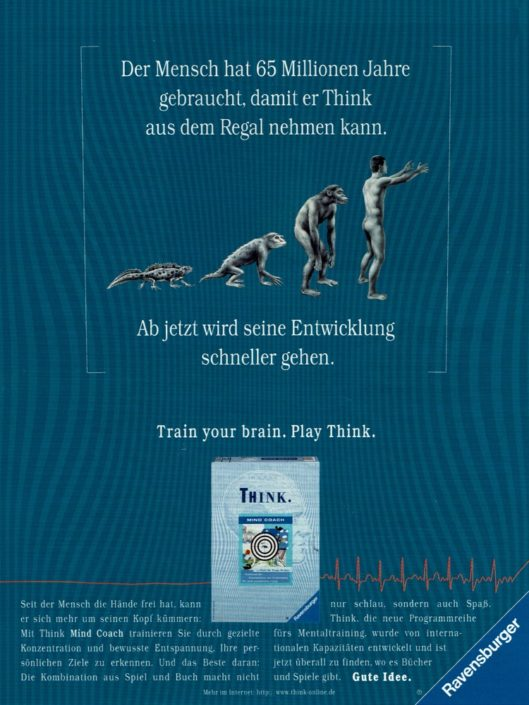 "Ravensburger - B2C-Produktwerbung ""THINK-Mentaltrainer"" I Motiv: ""Evolution"" I Agentur: Springer & Jacoby"