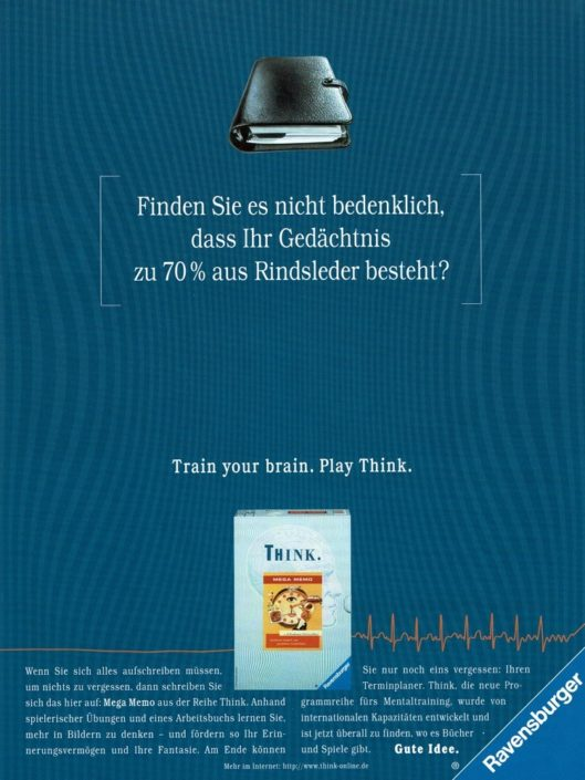 "Ravensburger - B2C-Produktwerbung ""THINK-Mentaltrainer"" I Motiv: ""Filofax"" I Agentur: Springer & Jacoby"