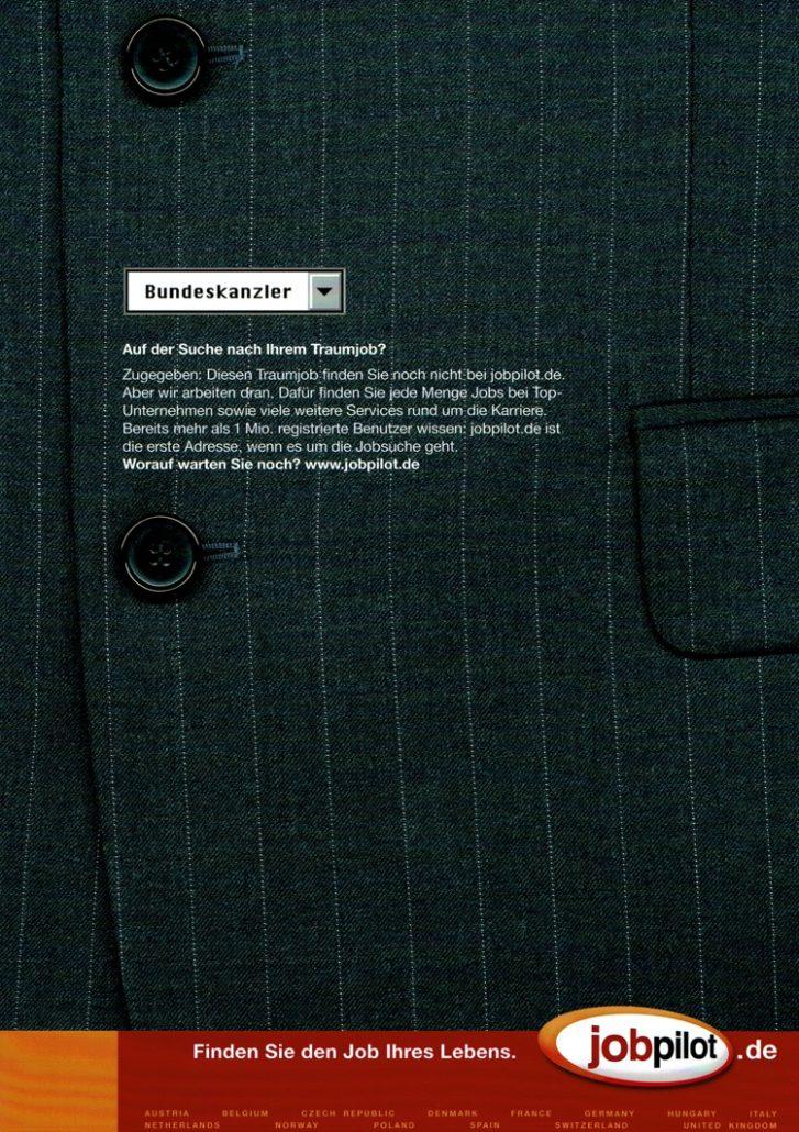 "jobpilot - B2C-Anzeige I Motiv: ""Bundeskanzler"" I Agentur: McCann"