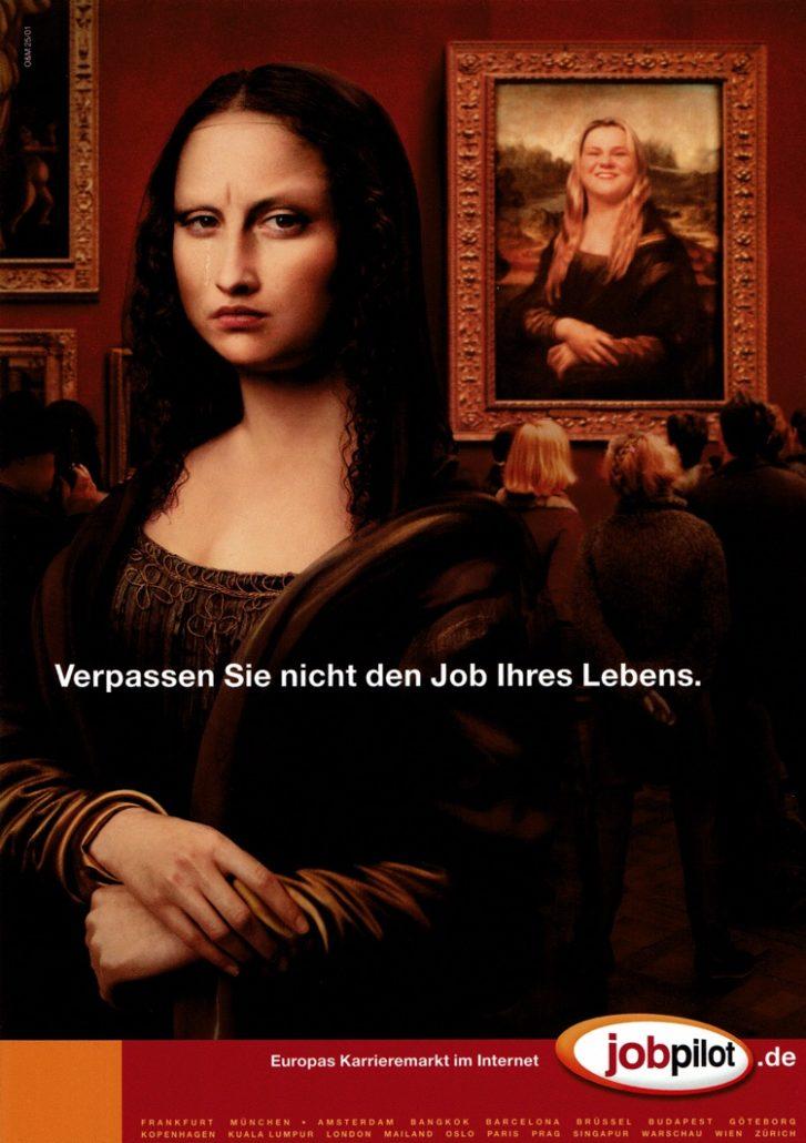 """jobpilot - B2C-Awareness Kampagne (Relaunch) I Motiv: """"Mona Lisa"""" 1/1-Seite I Agentur: Ogilvy"""
