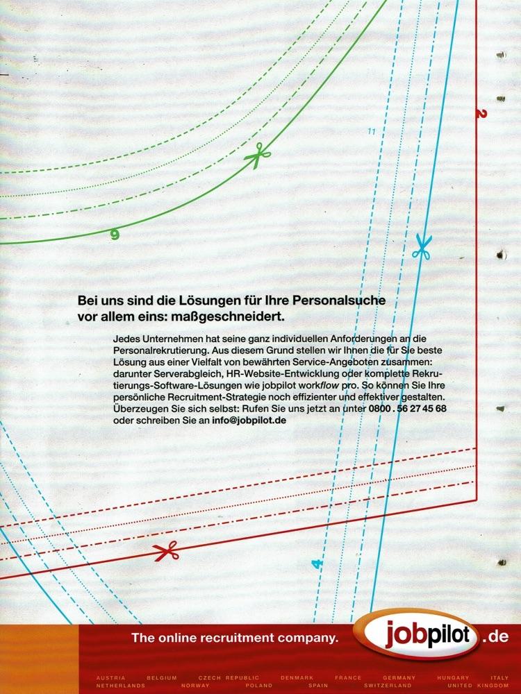 jobpilot - B2B-Awareness Kampagne I Motiv: Schnittbogen I Agentur: McCann